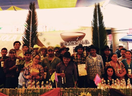Members of the cooperative Raíces Soltecas at an exhibition.