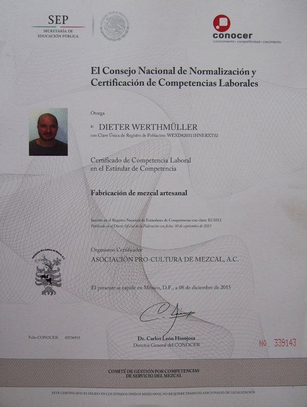 Dieter Werthmüller; Master Mezcalier.